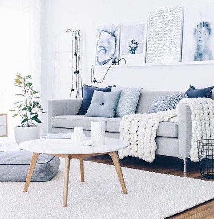 habitacion griscon paredes blancas decorada en estilo nórdico, decoración en las paredes