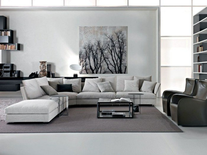 decoración de salones en colores neutros, salón decorado en estilo escandinavo, grande pintura en la pared