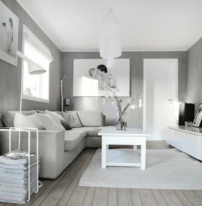 espacio decorado en estilo minimalista, decoración nórdica, habitacion gris y blanca