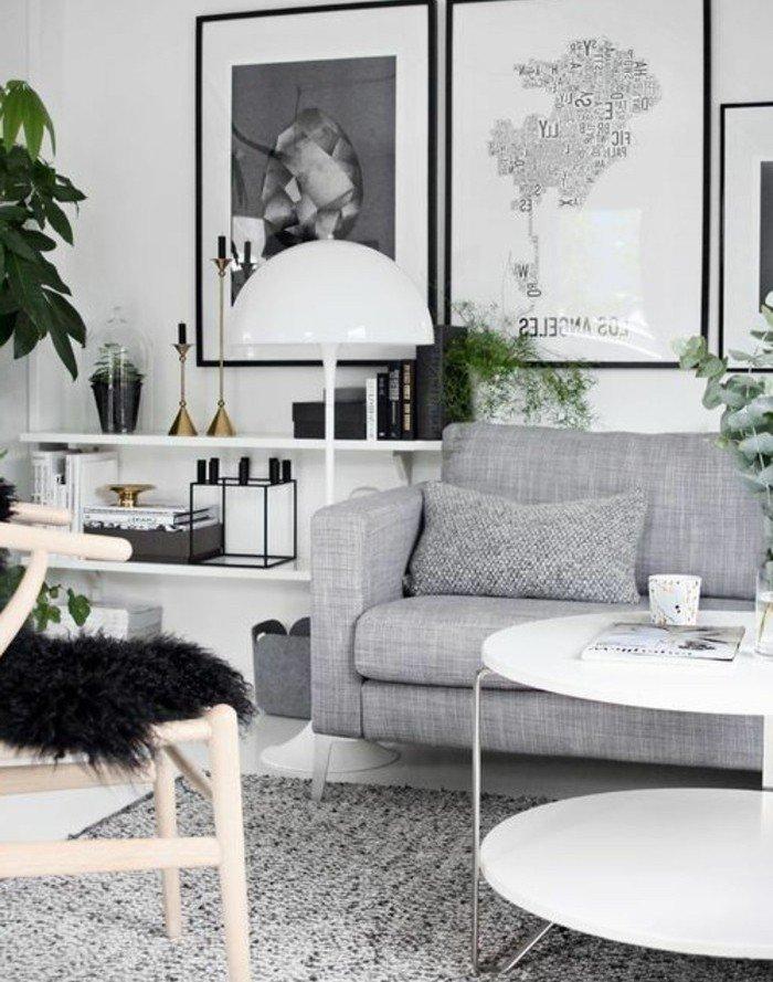 precioso salón con pinturas en la pared, habitacion gris con muchas plantas verdes, diseño moderno
