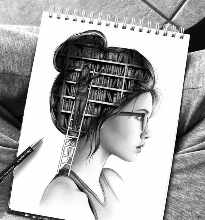adorable niña dibujo, dibujo en blanco y negro, perfil de una niña, imagines mágicas con caras de mujer