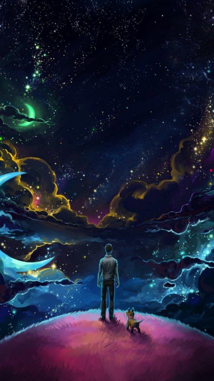 fondos de pantalla iphone para descargar gratis, bonitas imagines que inspiran, cielo colorido con nubes, estrellas y lunas