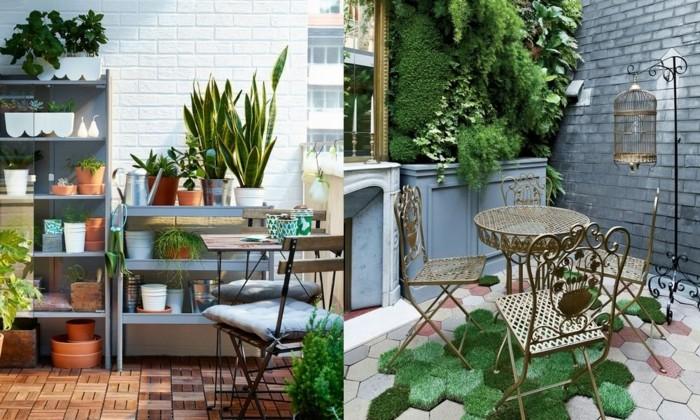 dos propuestas de decoracion terrazas pequeñas, suelos originales, paredes de ladrillo y muchas plantas verdes