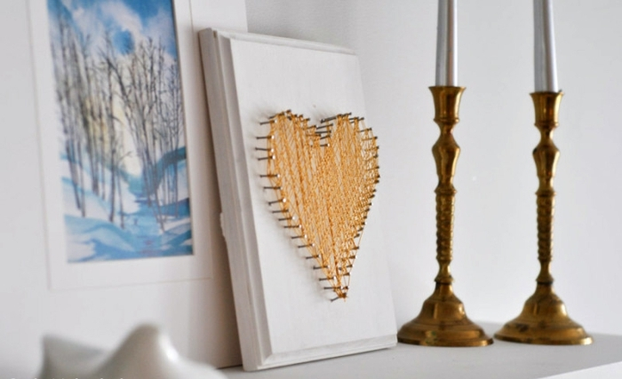 ingeniosas propuestas de manualidades para san valentin para hacer en casa, cuadro decorativo con corazón
