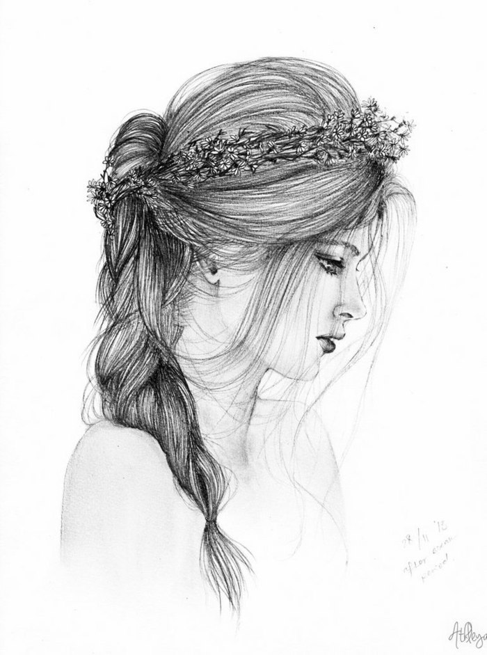 dibujos de niñas hechas en lapiz, mujer con pelo recogido en trenza y corona de flores