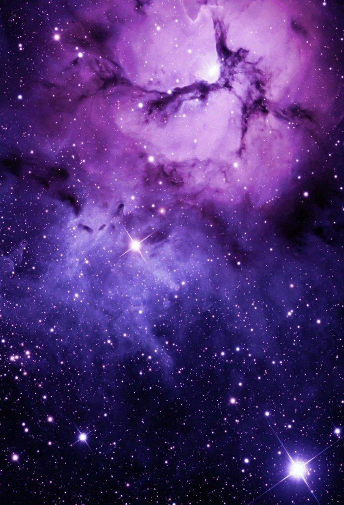 imagines para iphone en preciosos colores, ideas de fondos de pantalla iphone, nube estrellado en azul y morado
