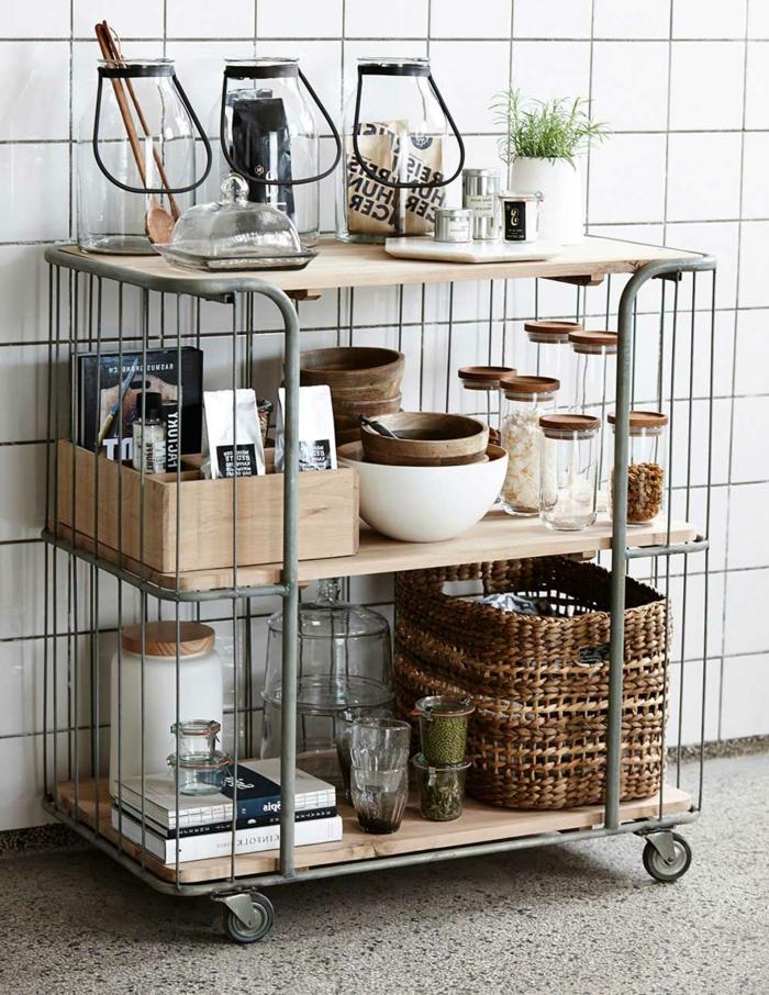 muebles para cocinas de tamaño pequeño, barra con estanterias multifuncional con ruedas