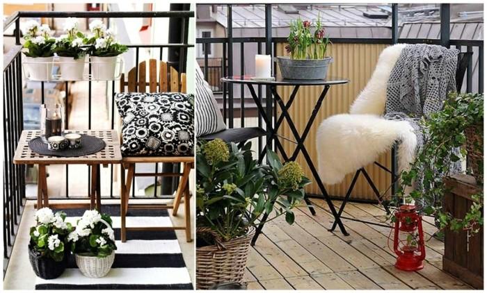 decoración terrazas pequeñas paso a paso, dos propuestas de balcones pequeños decorados en blanco y negro