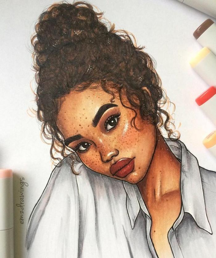 ideas niña dibujo super bonitas, niña con pelo recogido, labios gruesos en rojo y lunares