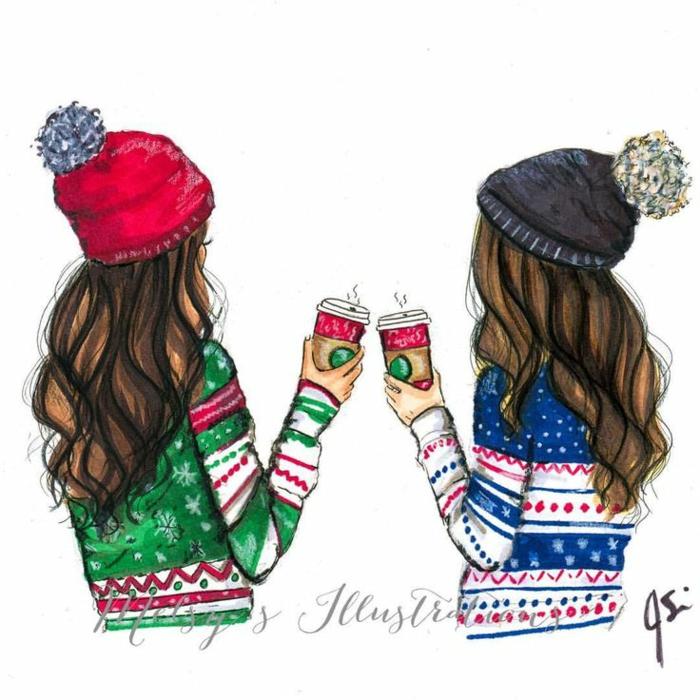 dos niñas con jerseys coloridos, dos amigas en invierno, niña dibujo adorables ideas en imagines