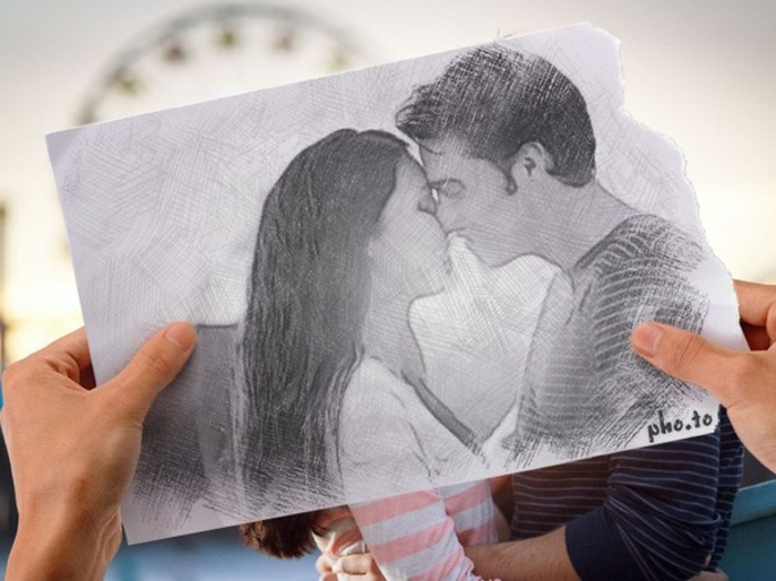 niña dibujo en lápiz, adorables ideas de dibujos en blanco y negro, pareja enamorada