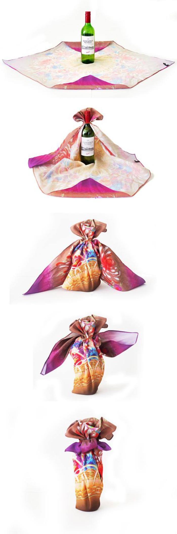 ideas sobre cómo decorar una botella de vino con tela paso a paso, bolsas para botellas de vino originales
