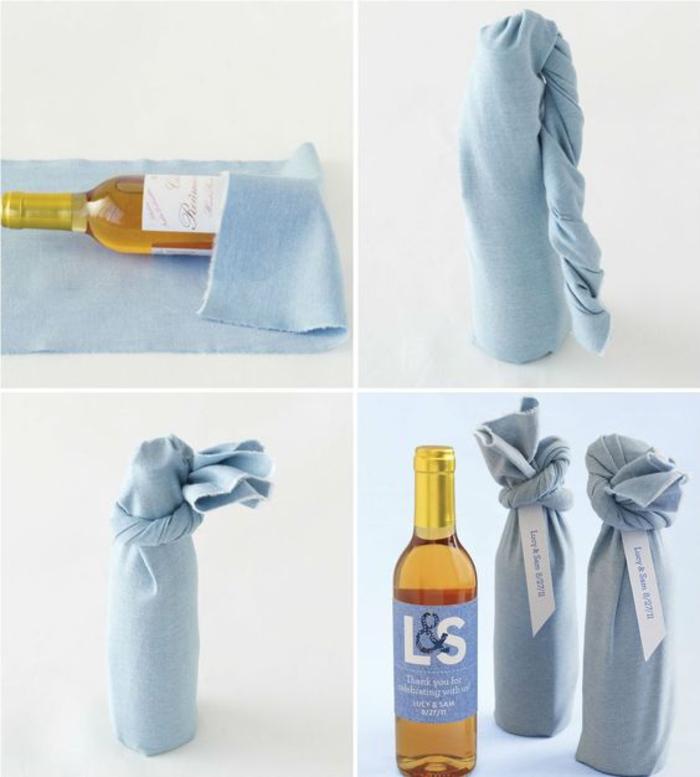 cómo envolver una botella de vino con tela paso a paso, bolsas para botellas de vino hechas a mano