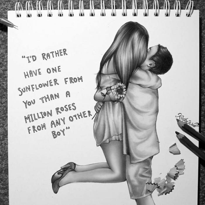 dibujos de parejas con frases románticas, dibujo de una niña, adorables imagines en blanco y negro