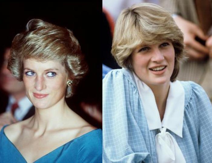 Lady Diana con dos outfits icónicos de los años 80, ropa de los 80 para mujeres en imagines
