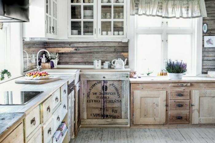 cocinas en estilo rústico moderno, armarios en estilo vintage, ideas de decoración de cocinas con isla