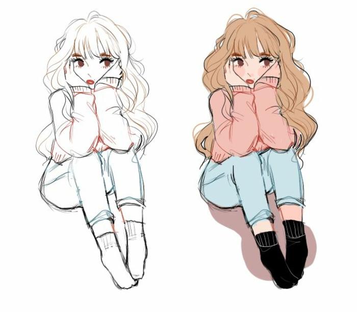 dos variantes de un dibujo, ideas de dibujos para colorear, como dibujar una niña paso a paso