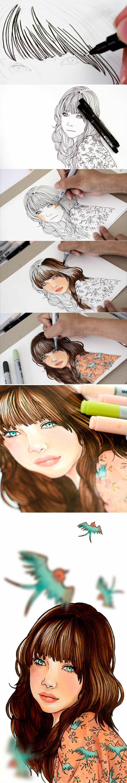 como dibujar una niña paso a paso, tutooriales de dibujos de niña, ideas sobre como colorear un dibujo