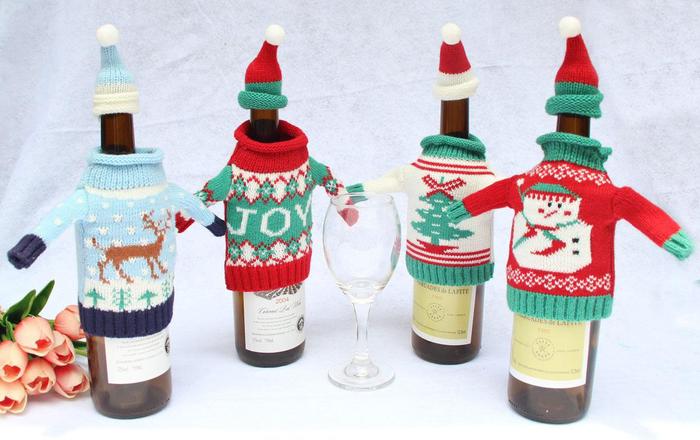 bolsas para botellas de vino y abrigos divertidos, abrigos de lana para decorar botellas de vino tinto y blanco