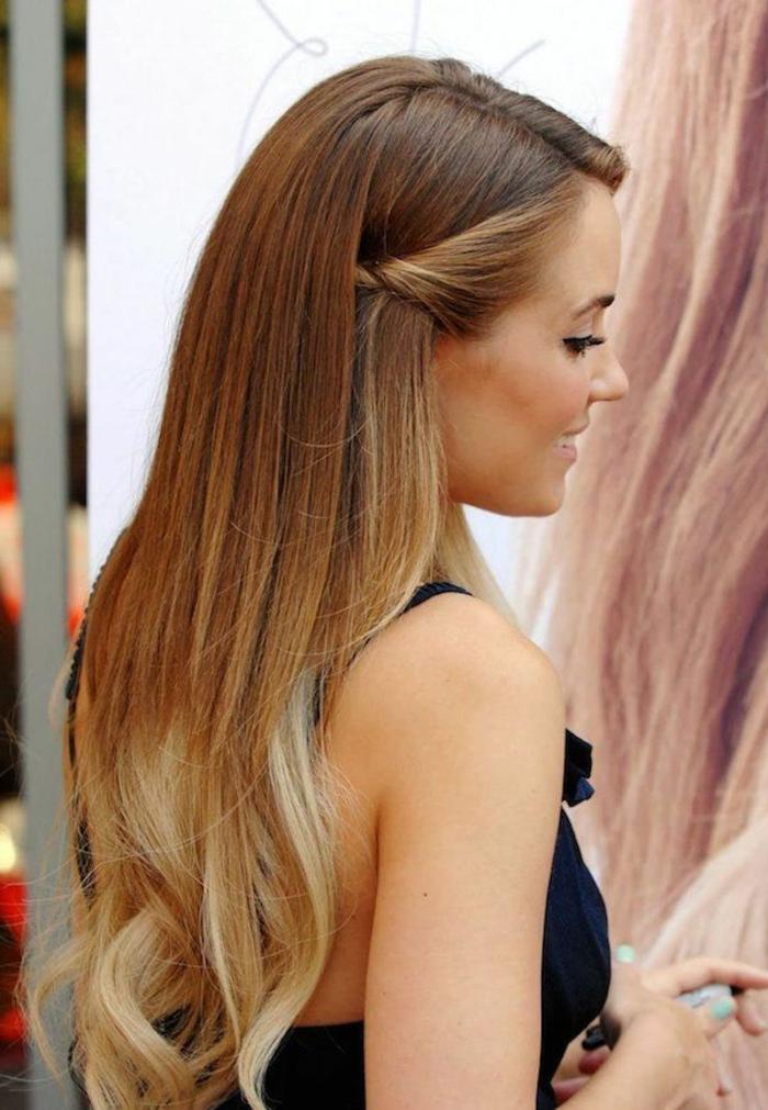 peinados de novia elegantes y bonitos, cabello muy largo con mechas blaayage rubias, recogidos originales