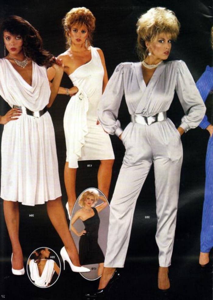atuendos elegantes mujer de la ropa de los 80, vestidos blancos de corte original, mono en color plateado con mangas largas
