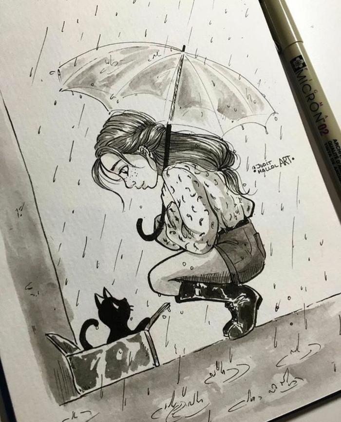 dibujo de una niña en la lluvia, gato negro, niña bonita con pelo recogido en coleta, imagines inspiradoras