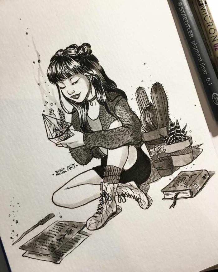 dibujo de una niña de manera original, dibujos en lapiz bonitos y fáciles de hacer, más de 100 propuestas