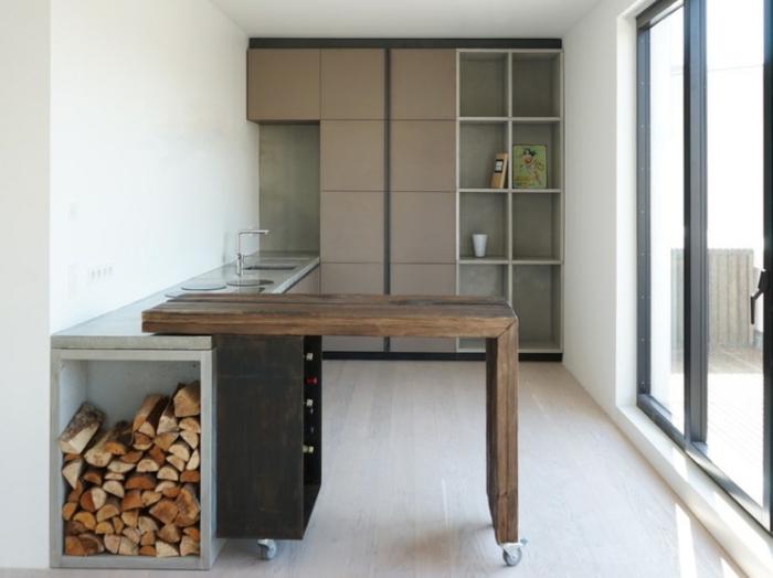 cocinas modernas pequeñas de diseño, cocina con isla en estilo contemporáneo, decoración en blanco y beige