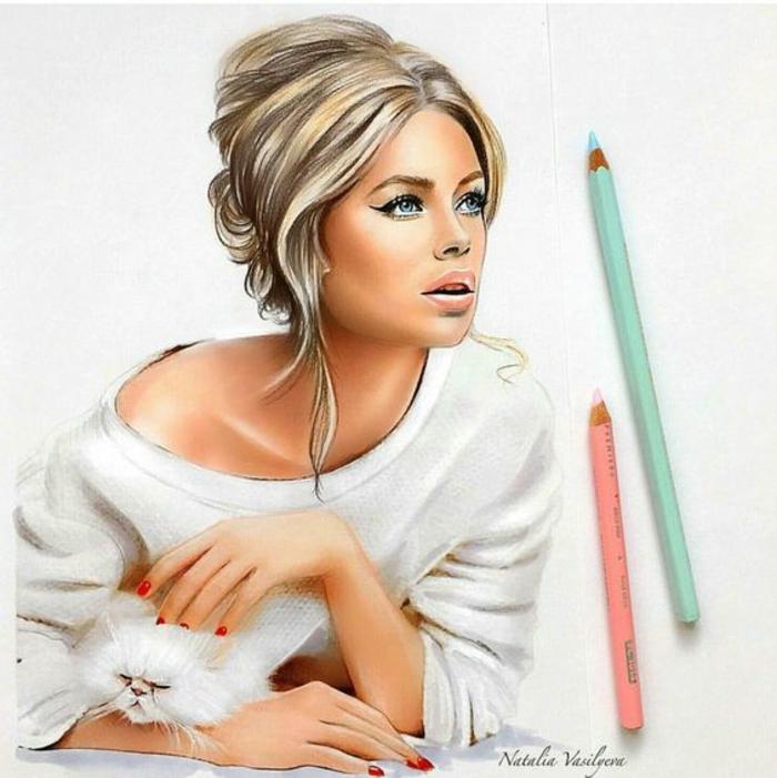 retratos hiperrealistas de celebridades, como dibujar una niña paso a paso, retrato en lapices