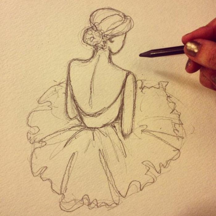 como dibujar una niña ballerina, dibujos en lápices clásicos y bonitos, dibujos de mujer