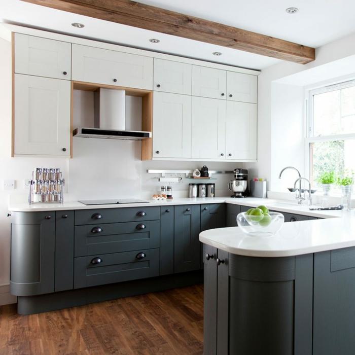 cocinas en blanco y gris con acabados de madera, ideas sobre cocinas modernas pequeñas