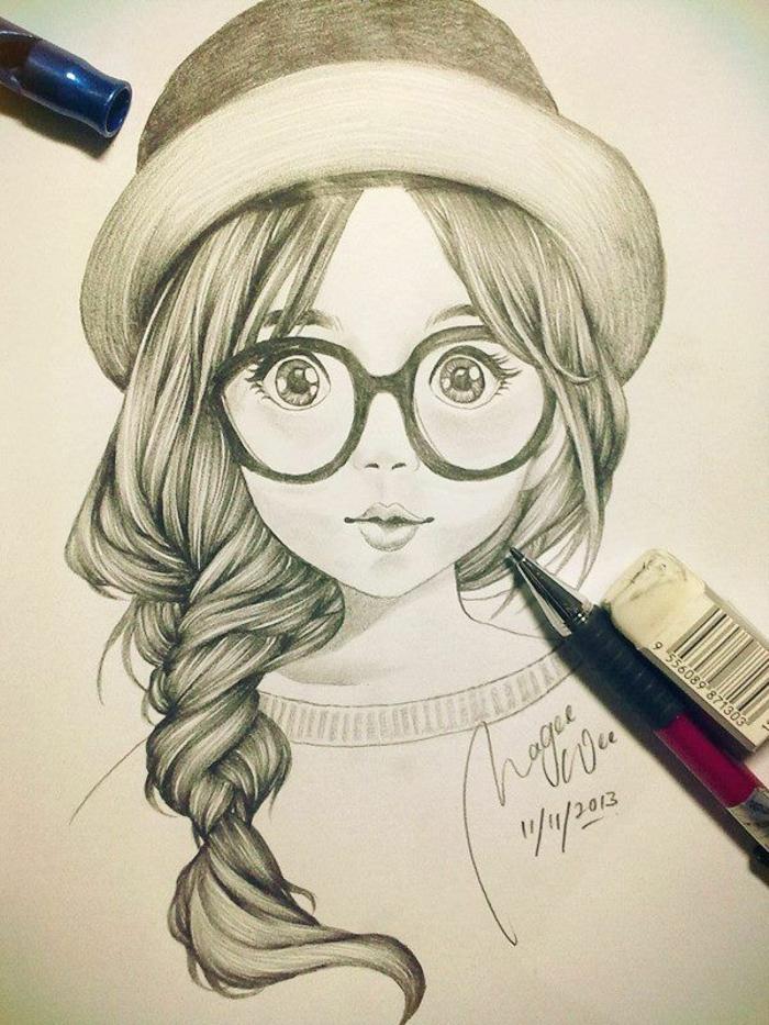 dibujo de una niña hiperrealista, preciosa niña con sombrero y pelo recogido en trenza lateral
