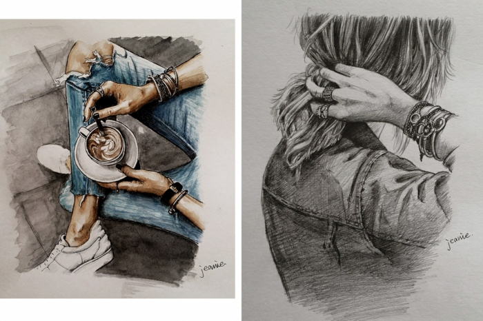 dibujo de una niña que inspira, ideas de dibujos originales con niñas y mujeres, más de 110 propuestas