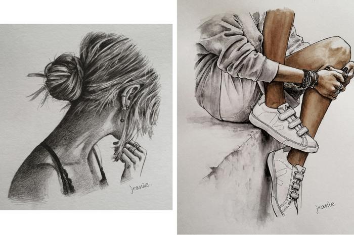 increíbles ideas de dibujo de una niña, preciosas imagenes con dibujos inspirados en la belleza de la mujer