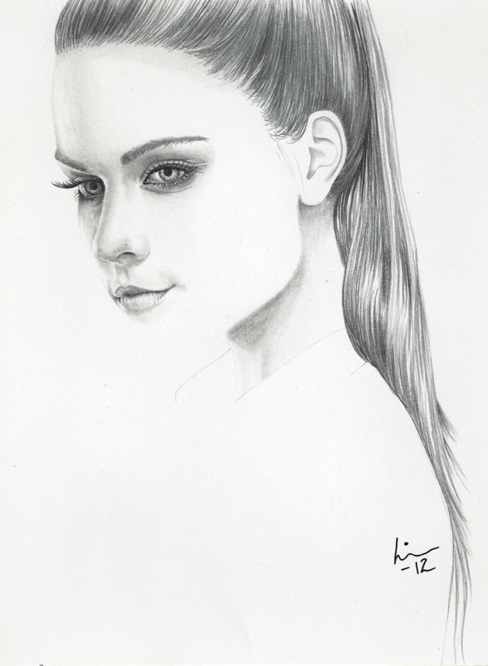 retratos de mujeres estilo realista, mujer pelo recogido en coleta alta, bonitas ideas como dibujar una niña