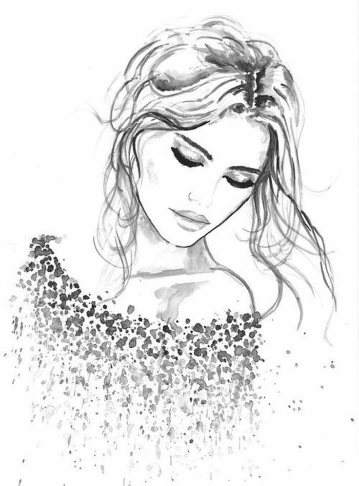 mágicos retratos mujer, ideas originales sobre como dibujar una niña, mujer pelo recogiido