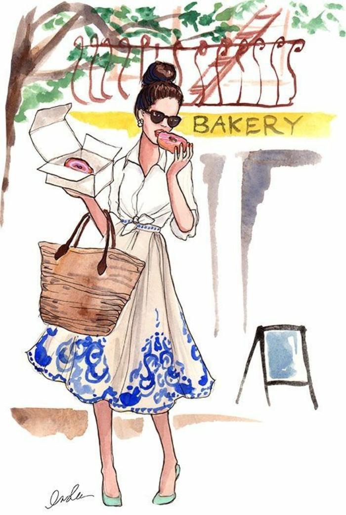 dibujos originales y bonitos inspirados en la mujer, precioso vestido color beige con ornamentos azules