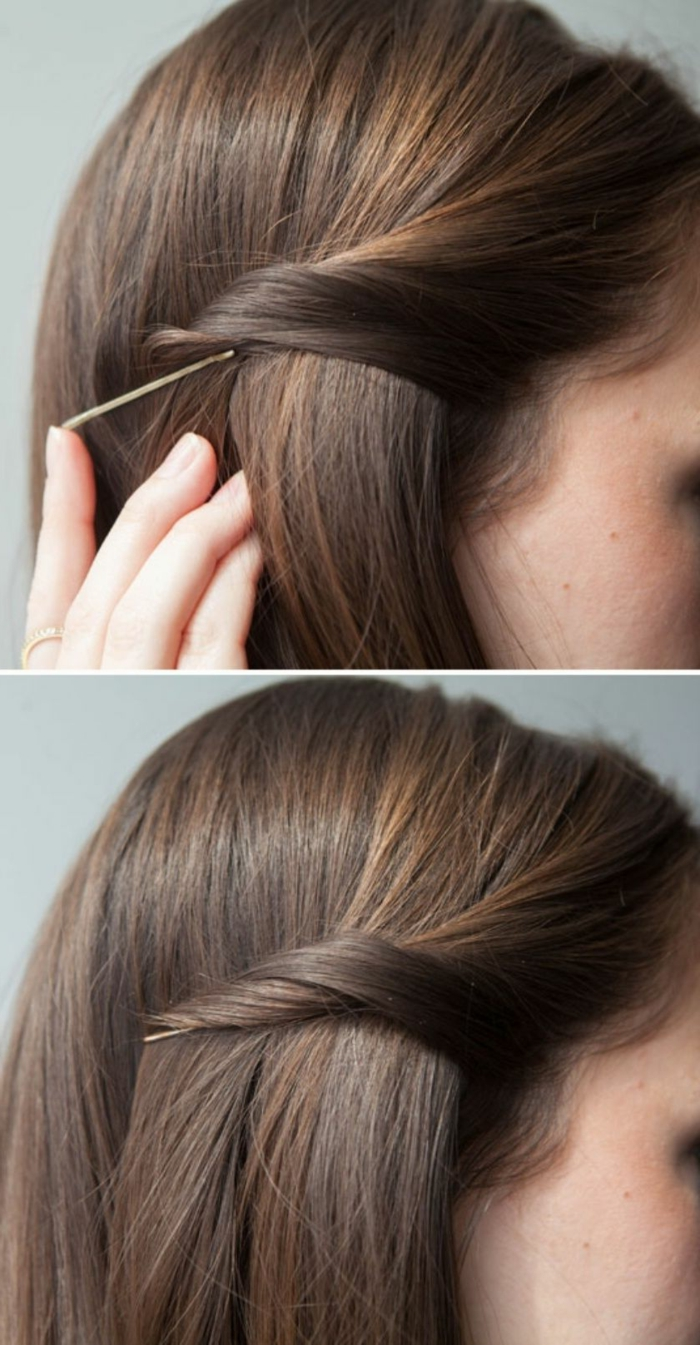 peinados para bodas fáciles y rápidos, pelo suelto con dos recogidos laterales con broches, cabello color castaño claro