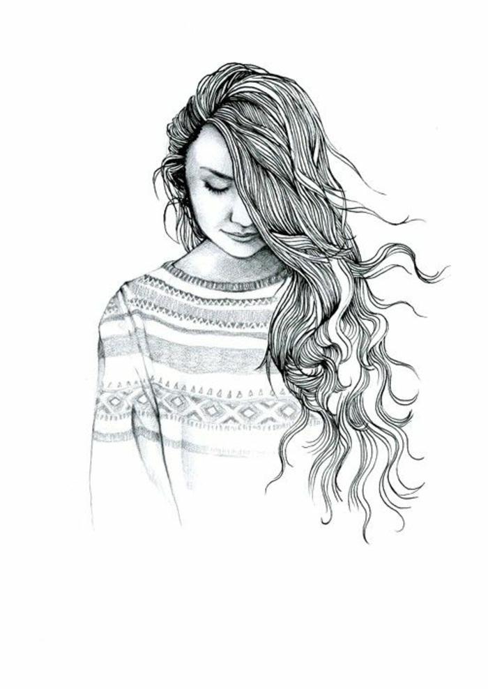 propuestas encantadoras de dibujos mujer super bonitos, niña pelo largo rizado mirando hacia abajo