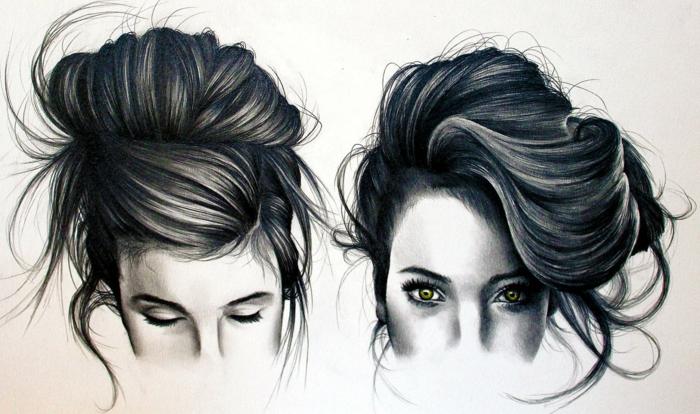 dibujos de dos mujeres con pelo largo recogido en moño, dibujos de niñas faciles y bonitos
