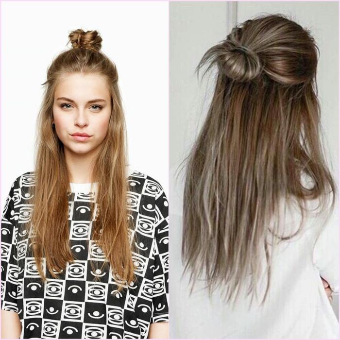semirecogidos fáciles sencillos y originales para tu día a día, cabello muy largo y pequeño moño