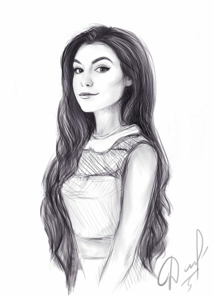 precioso dibujo mujer con larga melena ligeramente ondulada, dibujos de niñas faciles para descargar