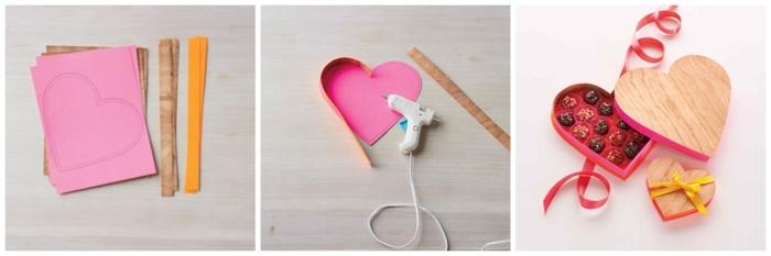 cómo hacer una caja en forma de corazón hecha a mano paso a paso, regalos san valentin hombre, caja con caramelos DIY