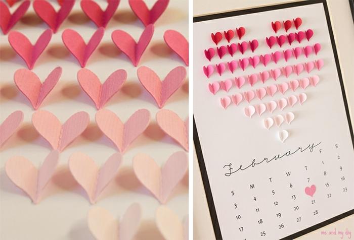 calendario DIY super original con pequeños corazones de cartulina, manualidades para san valentín originales