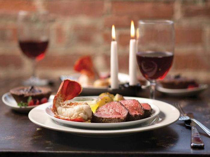 recetas san valentin, cena romántica para dos, filetes de ternera, mariscos y patatas al horno
