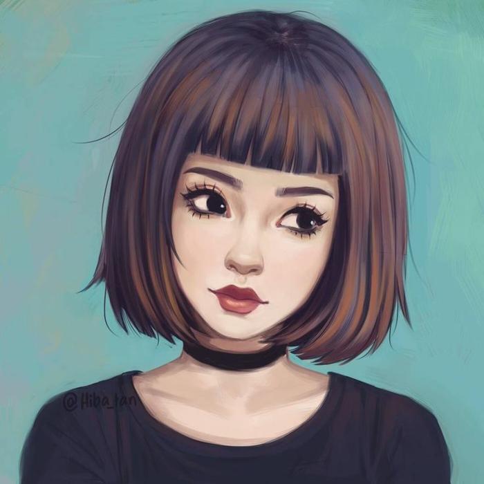 bonita niña con pelo corto con flequillo color castaño, dibujos de niñas faciles y bonitos