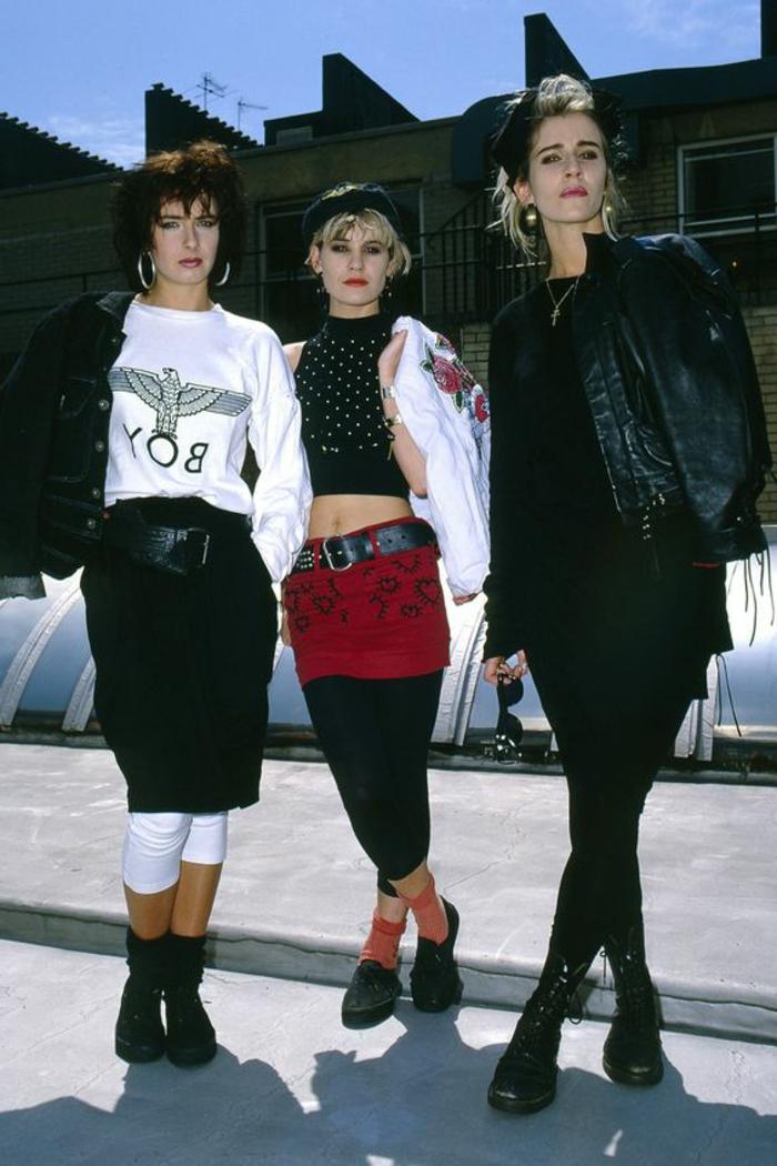 ejemplos emblemáticos del vestuario de los 80 punk, prendas de cuero en blanco y negro, pañuelos en la cabeza