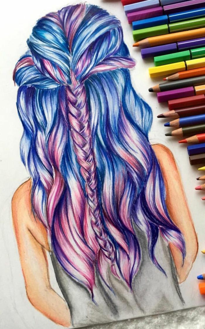 dibujos de niñas faciles y rápidos, niña con pelo muy largo color azul y lila, semirecogido trenzado