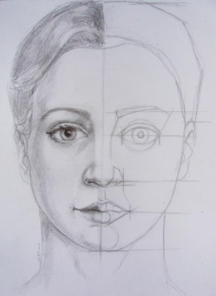 ideas sobre cómo dibujar una cabeza de mujer, proporciones fáciles de hacer, dibujos de niñas faciles