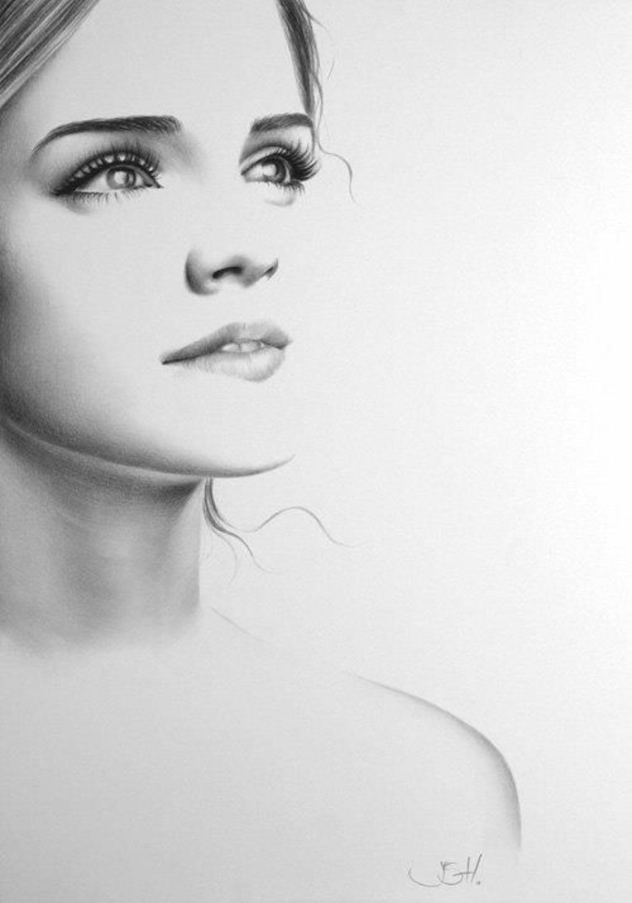 retratos hiperrealistas de celebridades, como dibujar una niña paso a paso, Ema Stone retrato